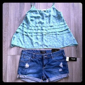 Cute tank top with jeans shorts